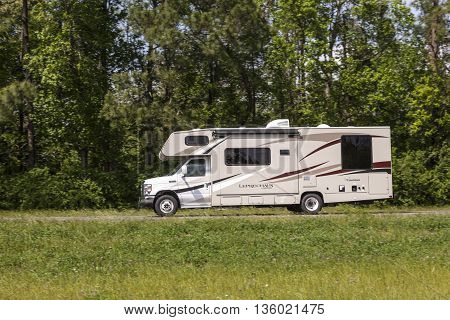 WESTLAKE USA - APR 15: Coachmen Leprechaun Recreational Vehicle on the road in Louisiana. April 15 2016 in Westlake Louisiana United States