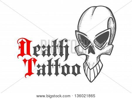 Gothic stylized skull of ancient monster or demon sketch icon with cracked frontal bone. Decorative cranium for tattoo or jewelry design usage