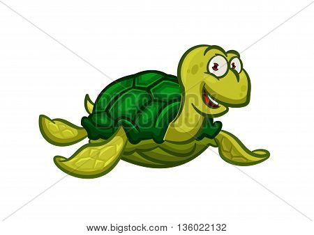 Happy cartoon swimming pacific turtle with dark green carapace with scaly pattern and olive colored skin. Cheerful smiling marine reptile character for nature mascot or t-shirt print design