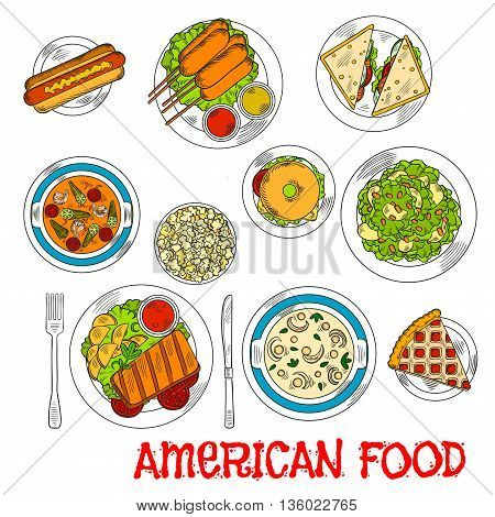 Popular american food colored sketch with grilled beef steak, hot dog and bagel cheeseburger, corn dogs and salmon sandwiches, seafood tomato and cream cheese soups, apple salad with nuts and berry pie with popcorn