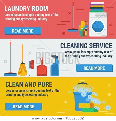 Vector horizontal banners laundry and cleaning. Cleaning service, laundry room and clean and pure. Concept office cleaning, cleaning service and cleaning products in flat style