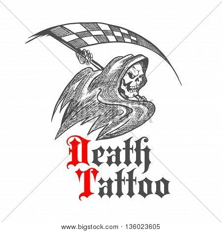 Cruel skeleton icon in black hooded cape threatening with checkered racing flag in a shape of scythe. Great for racing sport symbol, tattoo or grim reaper mascot design