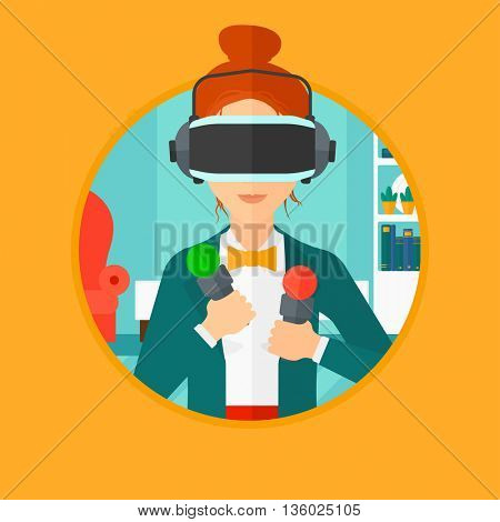 Young woman wearing a virtual relaity headset and holding motion controllers in hands. Woman playing video games in apartment. Vector flat design illustration in the circle isolated on background.