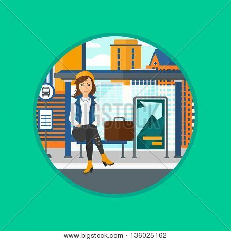 Woman with briefcase waiting for a bus at a bus stop on a city background. Young woman sitting at the bus stop at the city street. Vector flat design illustration in the circle isolated on background.