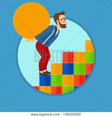 Tired hipster man with the beard rising up on the colored cubes and carrying a big stone on his back. Man with huge concrete ball. Vector flat design illustration in the circle isolated on background.