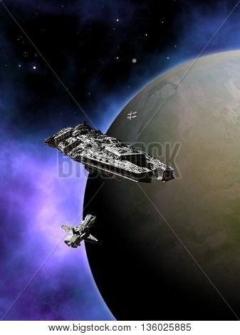Science fiction illustration of a small fleet of three spaceships in orbit around a green planet with a purple nebula in deep space, 3d digitally rendered illustration (3d rendering, 3d illustration) poster