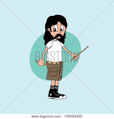 male cartoon character drummer music band theme vector art illustration