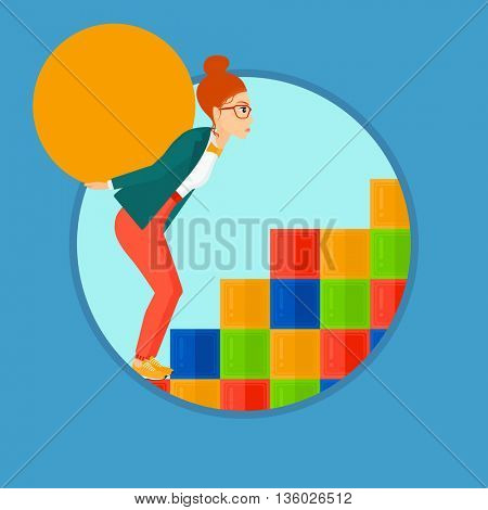 Tired woman rising up on the colored cubes and carrying a big stone on her back. Young woman with huge concrete ball going up. Vector flat design illustration in the circle isolated on background.