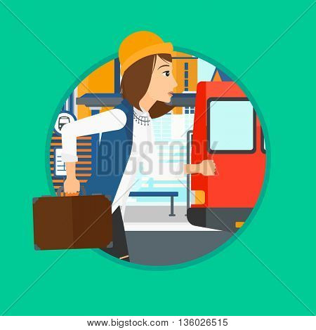 Latecomer woman running along the sidewalk to reach a bus. Woman came too late at bus stop. Woman with briefcase chasing a bus. Vector flat design illustration in the circle isolated on background.