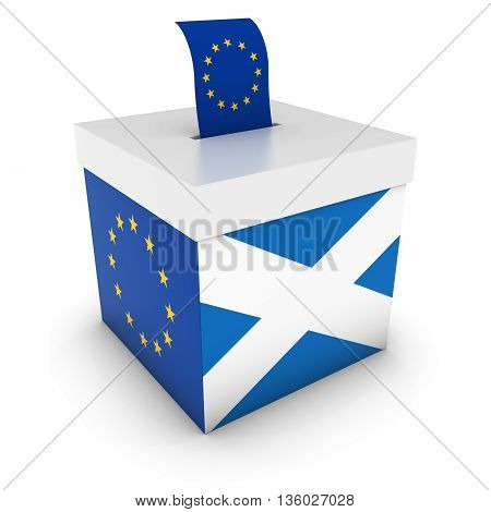 Vote For Europe - Scottish Eu Referendum Ballot Box With Flags 3D Illustration