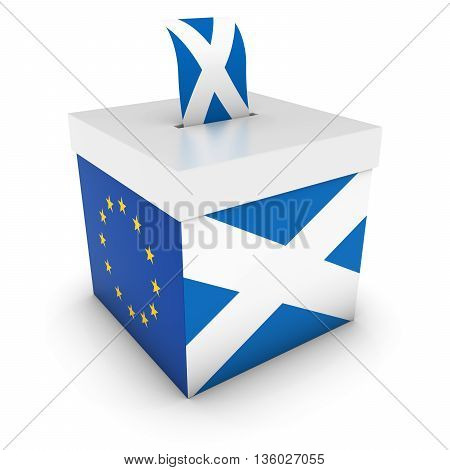 Vote For Scotland - Scottish Eu Referendum Ballot Box With Flags 3D Illustration