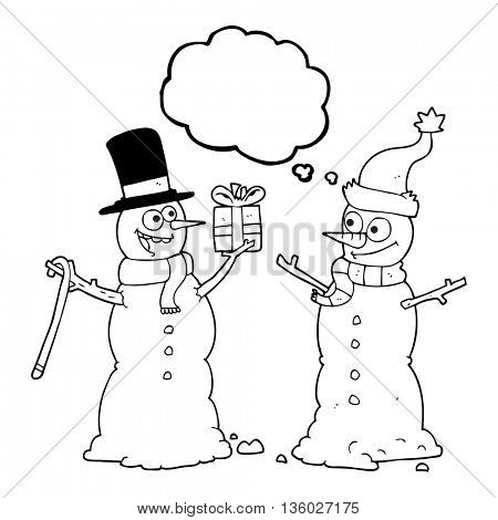 freehand drawn thought bubble cartoon snowmen exchanging gifts