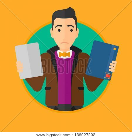Confused man choosing between a tablet computer and a paper book. Man holding book in one hand and tablet computer in the other. Vector flat design illustration in the circle isolated on background.
