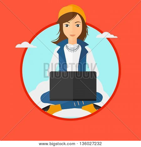 Young woman sitting on a cloud with a laptop on her knees. Happy woman using cloud computing technology. Cloud computing concept. Vector flat design illustration in the circle isolated on background.