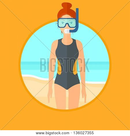Woman in diving suit, flippers, mask and tube standing on the beach. Female scuba diver on the beach. Woman enjoying snorkeling. Vector flat design illustration in the circle isolated on background.