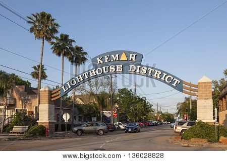 KEMAH TX USA - APR 14 2016: Kemah Lighthouse District entrance sign. The Lighthouse District is the town center with many shops restaurants and attractions.