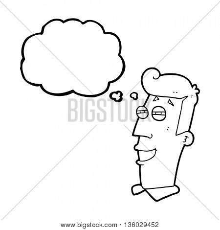 freehand drawn thought bubble cartoon grinning man