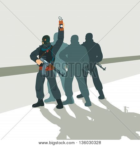 Armed Terrorist Group Team Leader Terrorism Vector Illustration