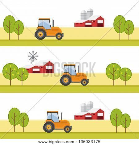 Agriculture and Farming. Agribusiness. Rural landscape eps10