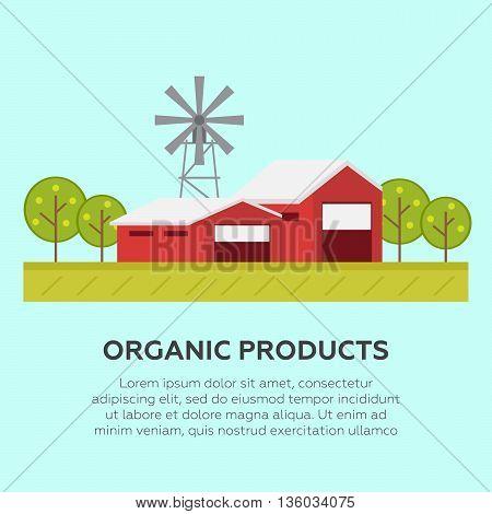 Rural landscape environment. Flat design vector illustration concept eps10