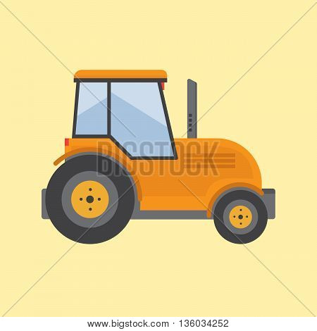 Tractor. Farmer machine in flat style vector illustration eps10