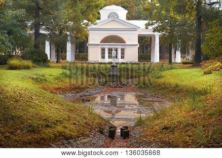 picturesque autumn landscape in Pavlovsk Park, Saint Petersburg, Russia poster