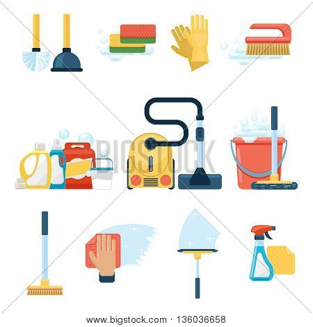Cleaning flat icons. Household supplies and cleaning tools vector signs. Cleaning detergent, domestic cleaning, housework cleaning illustration