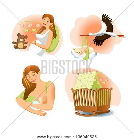 Baby birth images set of pregnant woman stork with child crib mother and baby flat isolated vector illustration