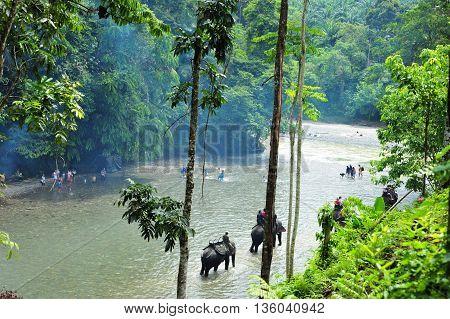 SUMATRA, INDONESIA - 27 MAY 2015: Elephant trekking in the Batang River in Gunung Leuser National Park of Tangkahan in 27 May 2015