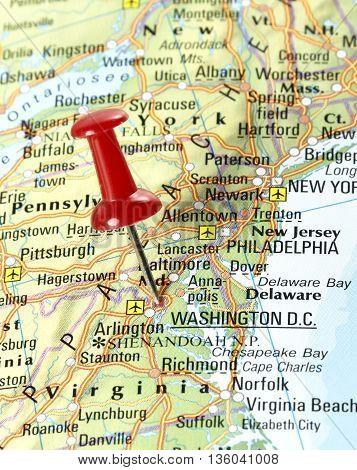 Map wit pin set on Washington D.C., USA.