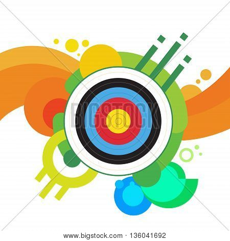 Archery Target Archer Sport Game Competition Colorful Banner With Copy Space Vector Illustration