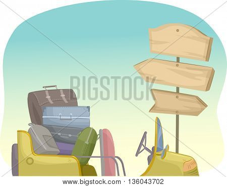 Illustration of a Pile of Suitcases Near a Wooden Sign