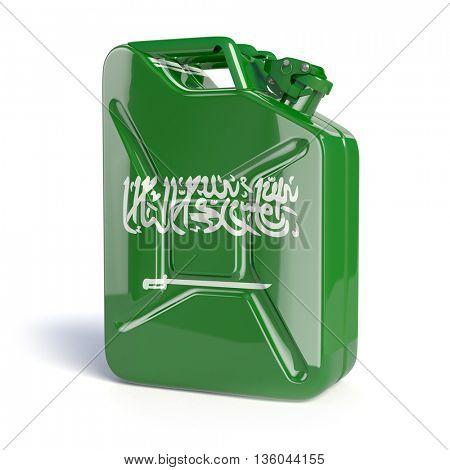 Oil of Saudi Arabia. Saudi arabian flag painted on gas can. 3d illustration
