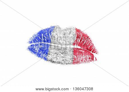 Kiss mark in french flag colors on white background