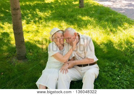 The weary old couple in the summer on a walk in park
