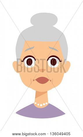 Shocked granny vector illustration.