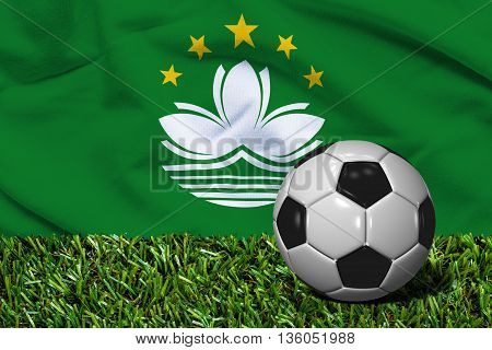Soccer Ball On Grass With Macau Flag Background, 3D Rendering