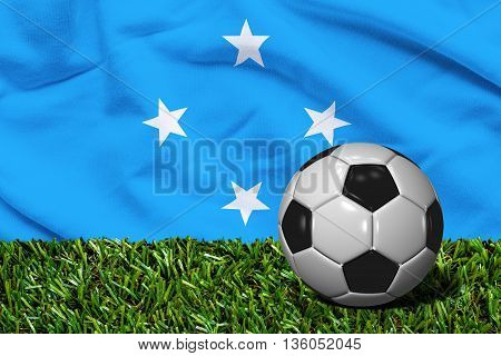 Soccer Ball On Grass With Micronesia Flag Background, 3D Rendering
