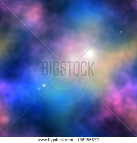 Abstract pink, blue and yellow background resembling clouds with sunglight. Pink, blue and purple blurred background with bokeh effect