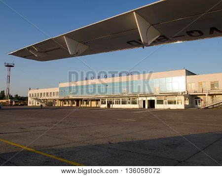 Voronezh Russia - June 08, 2013, View of the building of the airport of the city of Voronezh from the airfield