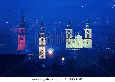 Landhaus Old Cathedral and Stadtpfarrkirche in Linz. Linz Upper Austria Austria.