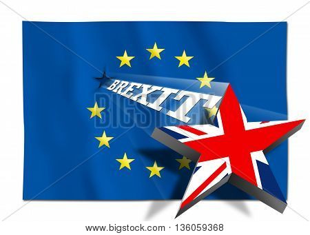 Brexit - Star with United Kingdom flag flying over the flag of the European Union. Illustration