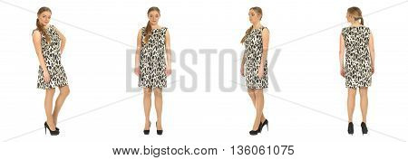 Blonde Plus Size Woman Posing In Dress For A Fashion Editorial