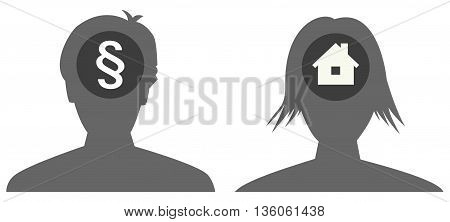 the female and male head silhouette with icon