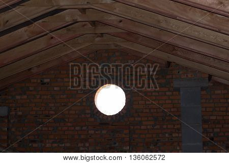 nonresidential attic space in a newly built cottage