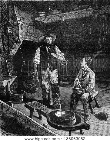 A tour of France with a little boy from Paris, with the artisan cheese maker. From Travel Diaries, vintage engraving, 1884-85.