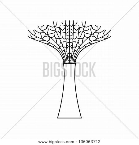 Singapore Supertree at the Gardens By The Bay icon in outline style isolated on white background