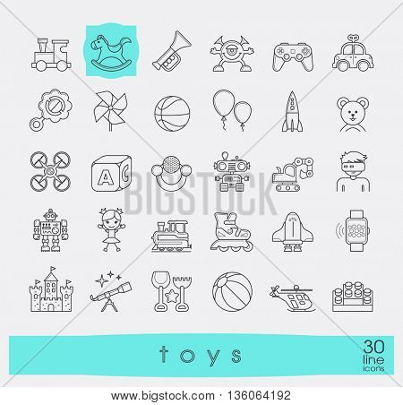 Set of premium quality line toy icons. Play and games icons. Collection of toys for children. Childhood fun vector illustration.