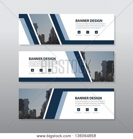 Blue abstract corporate business banner template horizontal advertising business banner layout template flat design set clean abstract cover header background for website design