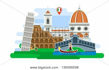 Concept of travel to Italy or studying Italian. Italian flag with landmarks. Excellent vacation in Italy. Cool trip to Italy. Fine travel to Italy. Time to travel. Tourism in Italy. Flat design, vector illustration